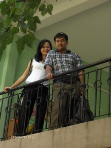 Kim and Lam on a balcony in Saigon.